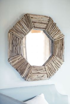 Love this mirror from Ballard Designs. Almost feel like I could make it myself from collected driftwood? Driftwood Mirror, Diy Mirror, Mirror Ideas, Wall Mirror, Beach Crafts, Diy And Crafts, Arts And Crafts, Driftwood Projects, Diy Projects