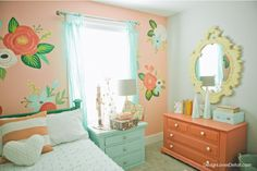 room decor 2015 Christmas Home Tour from Christmas decor for a little girls room. Love the Rifle Paper Co. inspired artwork that was handpainted. And how about that little white tree & Gingiber wrapping paper? Big Girl Bedrooms, Little Girl Rooms, Girls Bedroom, Bedroom Decor, Bedroom Ideas, My New Room, My Room, Cute Teen Rooms, Kids Bedroom Designs