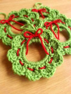 Christmas Crochet Wreath Ornament Christmas Wreath Gift by CuppaStitches Crochet Christmas Wreath, Crochet Wreath, Crochet Christmas Decorations, Crochet Ornaments, Crochet Decoration, Christmas Crochet Patterns, Holiday Crochet, Christmas Knitting, Crochet Crafts