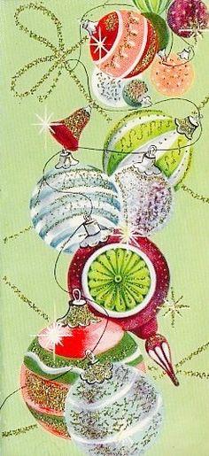 Mid-century Modern Christmas Card. Retro Ornaments. Vintage Christmas Card.