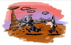 Shepard & Garrus (Calvin & Hobbes-Style) Oh, to have this on a t-shirt!