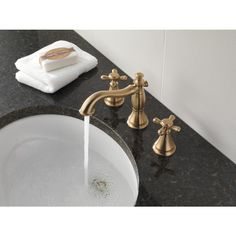 Shop Delta Cassidy Champagne Bronze 2-Handle Widespread WaterSense Bathroom Faucet (Drain Included) at Lowes.com