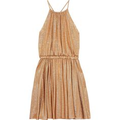 Halston Heritage Metallic stretch-jersey mini dress ($325) ❤ liked on Polyvore featuring dresses, gold, beige party dress, ruffle dress, going out dresses, short fitted dresses and short ruffle dress