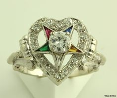 OES Past Worthy Matron Diamond Ring - Gold Order of the Eastern Star Candy Jewelry, Star Jewelry, Masonic Symbols, Eastern Star, Star Ring, Jewelery, Bling, Stars, Masons