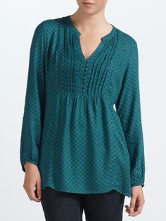 John Lewis Capsule Collection Pintuck Tunic in Green (Teal)