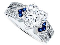 Engagement Ring -Heart Shape Diamond Engagement Ring Trio Blue Sapphire double Diamond band in 14K White Gold-ES1152HSWG