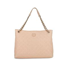 Tory Burch Marion Quilted Center-Zip Tote Bag In Pale Apricot * Visit the image link more details.