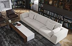 An elegant upholstered sofa adds dimension and style to your living space. The Modloft Perry Modular Three Seat Sofa features ample seating in a beautiful cream colour. Available in many combinations with ottoman. Extra Large Coffee Table, Coffee Table Grey, 3d Architectural Rendering, Modular Sofa, Wood Accents, Living Room Modern, Sectional Sofa, Living Room Furniture, Architecture
