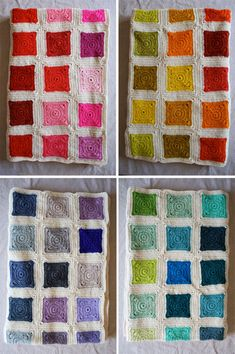 Purl Soho solid granny square Bears Rainbow Blanket