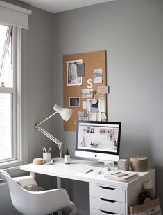 my scandinavian home: Cate St Hill's Scandinavian Inspired London Oasis Gray Home Offices, Home Office Design, Living Room Chairs, Living Room Furniture, Dining Chairs, Dining Room, Leather Chair With Ottoman, Leather Recliner, Office Workspace