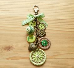Green dorset button charm for bag purse or key.