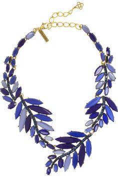 OSCAR DE LA RENTA Gold-plated, Swarovski crystal and resin leaf necklace