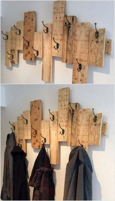 Recycled pallets // home decor ideas pallet coat racks, wood pallets, wood projects Pallet Home Decor, Wooden Pallet Projects, Diy Pallet Furniture, Easy Home Decor, Furniture Ideas, Furniture Design, Garden Furniture, Recycled Home Decor, Pallet Ideas For Walls