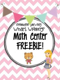 "Freebie!!! Check out this sample center for Math! Problem solving skills, perfect for 'analyzing' and explaining your answer.  Sample from my ""Third Grade Math Centers By strategy: All 10"" check out my TPT for more details!"