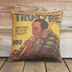 American Indian Pillow Cover, Burlap Throw Pillow - Native American Decor, Lodge. $46.00, via Etsy.