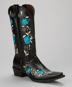 Love this Pecos Bill Black & Blue Embroidered Leather Cowboy Boot by Pecos Bill on #zulily! #zulilyfinds