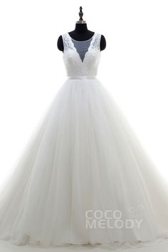 Dramatic+A-Line+Bateau+Natural+Chapel+Train+Tulle+Ivory+Sleeveless+Zipper+With+Buttons+Wedding+Dress+Ribbons+LD3994