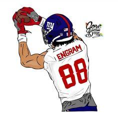 Evan Engram TE NY Giants Cartoon https://www.fanprint.com/licenses/new-york-giants?ref=5750