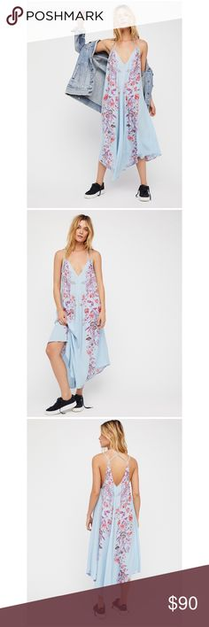 """Free People Blue Slip Semi-sheer midi slip featuring delicate flowers allover with a plunging V-neckline and a strappy criss-cross back detail. 100% Rayon Machine Wash Cold Measurements for size Small Bust: 41.5"""" = 105.41 cm Length: 48.5"""" = 123.19 cm Free People Dresses Maxi"""