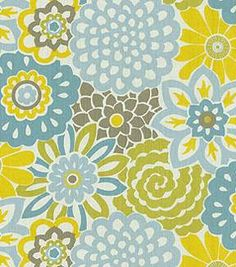 Home Decor Print Fabric-  Waverly Button Blooms Spa