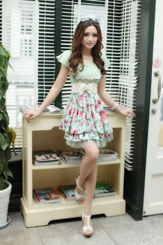 Green Short Sleeves Cute Korean Trendy Chiffon Frilled Dress with Floral Print 1