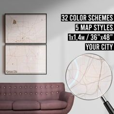 FREE SHIPPING WITHIN EU AND USA  We really love maps. Map prints, map posters, map illustrations. Our map designs consist 32 color schemes and 5 styles to choose from. Maps are very detailed and fully customizable if needed.    #mapprint #mapart #citymap #citymapprint #citymapposter #mapwallart #mapposter Map Wall Art, Map Art, City Map Poster, Map Posters, Kansas City Map, Map Design, City Maps, Apartment Design, Modern Interior Design