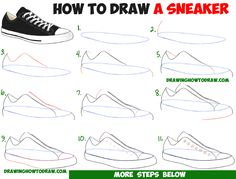 How to Draw Sneakers / Shoes with Easy Step by Step Drawing Tutorial for Beginners