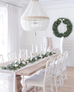 @jshomedesign Christmas tablescape Christmas wreath Ro sham Beaux. Ballard designs dayna chairs. Benjamin moore simply white