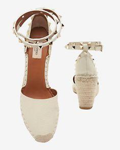 Valentino Rockstud Ankle Strap wedge Espadrille: Ivory
