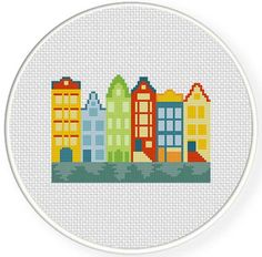 FREE for May 15th 2014 Only - Amsterdam Houses Cross Stitch Pattern