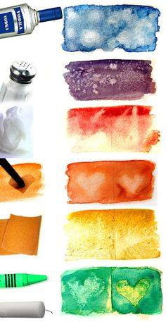 watercolor examples & how the following effect it ...alcohol, salt, blotting/lifting, stencils/erasing, sandpaper & wax http://bareroom.blogspot.com/search?updated-max=2012-02-20T21:10:00-08:00&max-results=7&start=7&by-date=false