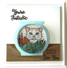 Hi crafters! Another fishbowl card to share with you! I just love that cat from the Fishbowl Friend stamp set! I started by stamping. Tim Holtz, Crafters Companion Cards, Cat Cards, Men's Cards, Unity Stamps, Shaker Cards, Animal Cards, Card Making Inspiration, Sue Wilson