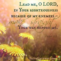 Psalm ~ Lead me, O LORD, in your righteousness because of my enemies make straight your way before me. Devotional Journal, Daily Devotional, Psalm 5, Bible Mapping, Shadow Of The Almighty, Message Of Hope, Beth Moore, Finding God, Favorite Bible Verses