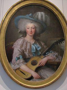 Portrait de Félicité Louise de Frézals, née Esmangard de Beauval, dernière dame d'atour de Marie-Antoinette, avec une guitare et une partition de musique, 1785 artiste anonyme