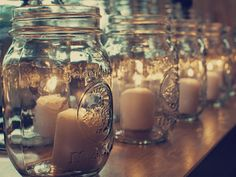 So many ways to use mason jars!Love myself some Mason Jars for wedding ideas! Mason Jar Candle Holders, Mason Jar Candles, Chic Wedding, Fall Wedding, Wedding Ideas, Dream Wedding, Wedding Rustic, Wedding Details, Lakeside Wedding