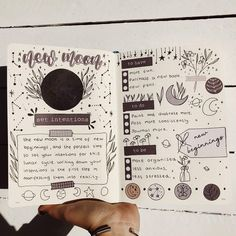 New moon is the time of new beginnings and to set your intentions. What are your goals this cycle? ✨ the practice of manifesting with the… Bullet Journal Writing, Bullet Journal Ideas Pages, Bullet Journal Inspiration, Wiccan Spell Book, Spell Books, Grimoire Book, Moon Witch, Wicca Witchcraft, Baby Witch
