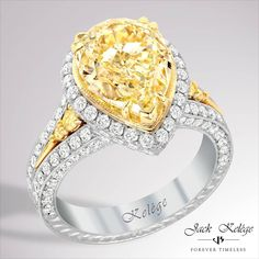 This Kelége #showstopper features a #gorgeous 4.18ct Fancy Yellow diamond.  Style: KPR 700 #jackkelege #forevertimeless #love