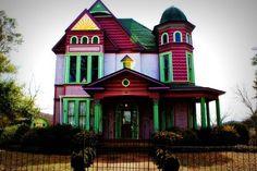 multi-colored Victorian house