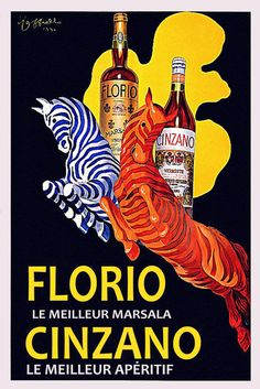 Luv! Glorious Zebras in Florio Cinzano Ad (Italy by Cappiello) Vintage Poster. These Beauties on an Orange Wall...