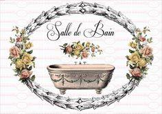 Bügelbild Vintage Shabby Chic Bad Blumen 1555 von Doreen`s Bastelstube  - Kreativ & Außergewöhnlich auf DaWanda.com
