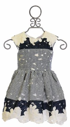 Halabaloo Lace Dress with Navy Stripes and Flowers