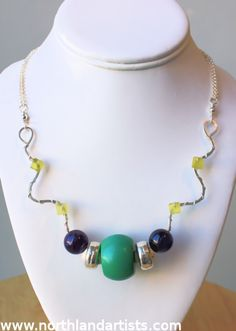 "Handmade sterling silver, turquoise, amethyst, & ""jade"" (serpentine) necklace by Susan Pauls. (sold)"