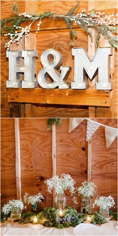 Rustic wedding décor, holiday inspiration, metal letter signs, evergreen boughs, baby's breath, mason jars // Trusted Exposures Photography