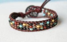 Rustic Picasso Bohemian beach beaded leather wrap bracelet