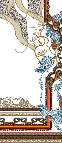 Baroque Design, Border Design, Textile Design, Flower Art, Alphabet, Textiles, Concept, The Originals, Digital