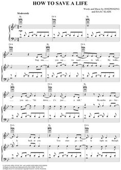 How to Save a Life Sheet Music Preview Page 1