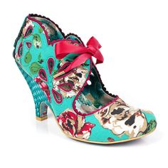 Look fantastic in floral with Ri Oh. These bright and bold high heels feature floral fabric uppers with contrasting scalloped trim and elegant ribbon laces.