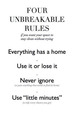 Four rules for an effortless clean home.