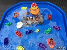 Lighthouse with Boats Tuff Tray Small World Scene Eyfs Activities, Nursery Activities, Infant Activities, Activities For Kids, Indoor Activities, Tuff Spot, Toddler Party Games, Toddler Play, Tuff Tray Ideas Toddlers
