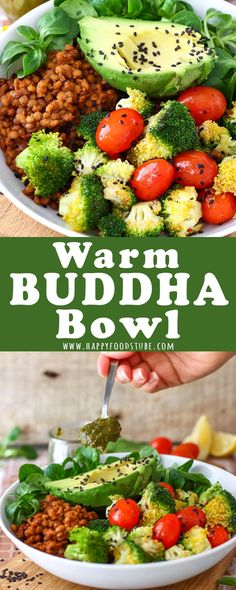 This Warm Buddha Bowl is packed with lentils, pan-roasted tomatoes and broccoli as well as fresh avocado and lamb lettuce. Add spinach and sun-dried tomato dressing to this healthy Buddha bowl for some more nutrients. #buddha #bowl #vegetarian #recipe #buddhabowl #lunch #meal #healthy #howtomake #warm #diet #dinner #glutenfree
